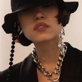 Accentuate SS20  Lolli earring & Rocket Queen earrings Silver tone chain Black hat _ Photo by @hellen_livshuk _ #Accentuate#collection#mood#cinematic#hat#editorial#photoshoot#photoart#style#movie