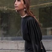Gorgeous Chloé Harrouche  @louloudesaison wearring Accentuate pearl necklace-belt 🖤💔 _ #Accentuate#paris#aaboutstyle#parisienne#gorgeous#ChloeHarrouche#stylevibes#streetstyle#chic
