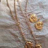 Longue chain necklace & earrings medals  Unique design/ crafted by hand 24k gold finish/ Заказать и купить 👉DM/ДИРЕКТ