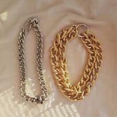 ACCENTUATE Gold tone large double chain  Silver tone chain  Make the order 👉DM/lena.romanenko@gmail.com