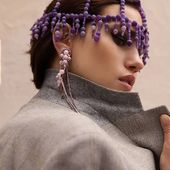 ACCENTUATE SS20 headpiece with natural stones 💜 Violet  Preorders DM/lena.romanenko@gmail.com  _  Photo @hellen_livshuk Mua @grinyuka_nastya  Model @av.performancee  #Accentuate#ss20#color#collection#art#coachella#editorial