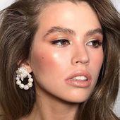 Glam mood Organic pearl clip on earrings _ Model@heyliza  Mua @tina_antonenko _ #Accentuate#goals#mua#beauty#hair